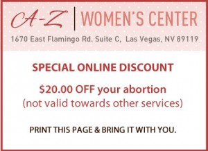 A-Z Women's Center coupon, discount offer for abortion services in Las Vegas